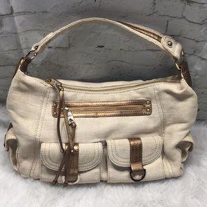 The Sak gold cotton jute shoulder bag bronze EUC
